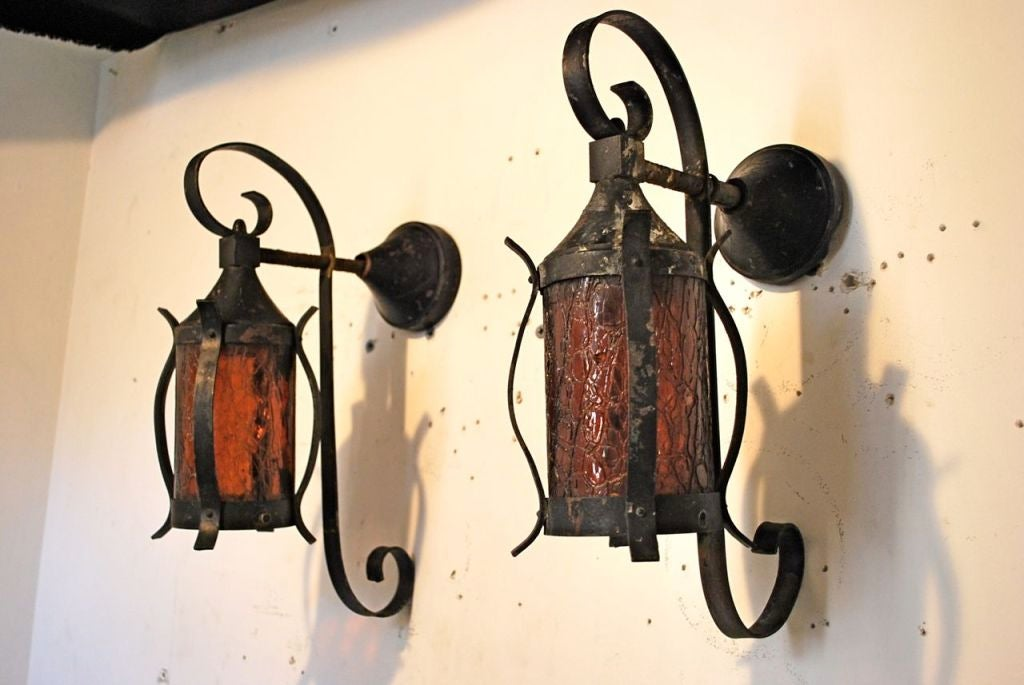 Iron Outdoor Wall Sconces : Antique Pair of Wrought Iron Outdoor Sconces at 1stdibs