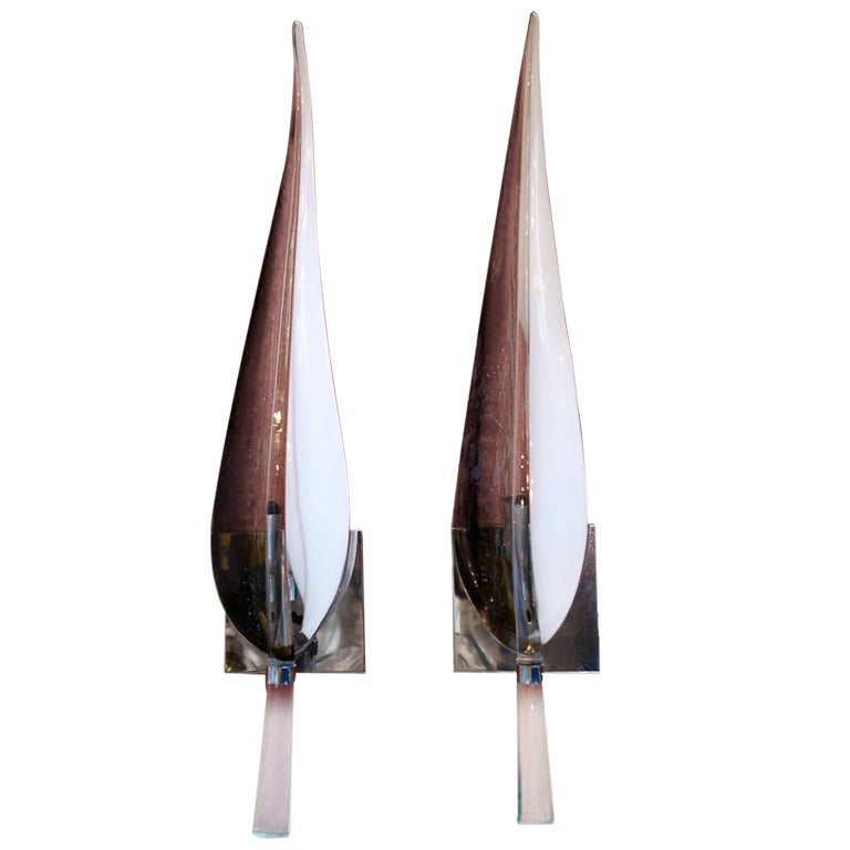 Large Antique Pair Of Murano Sconces at 1stdibs