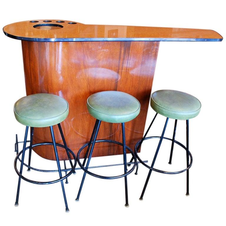 1950 Bar With Three Stool At 1stdibs