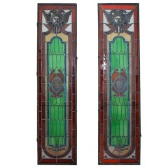Large Pair of French 19th Century Stain Glass Window