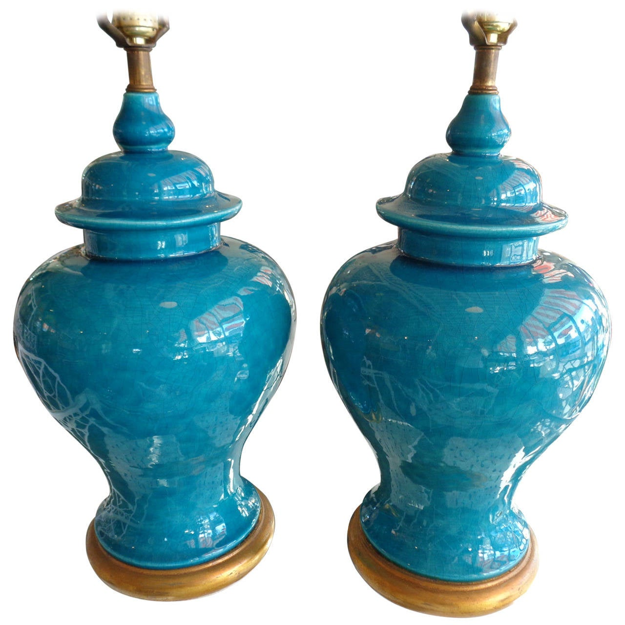 Pair Of Turquoise Crackle Glaze Ginger Jar Lamps At 1stdibs
