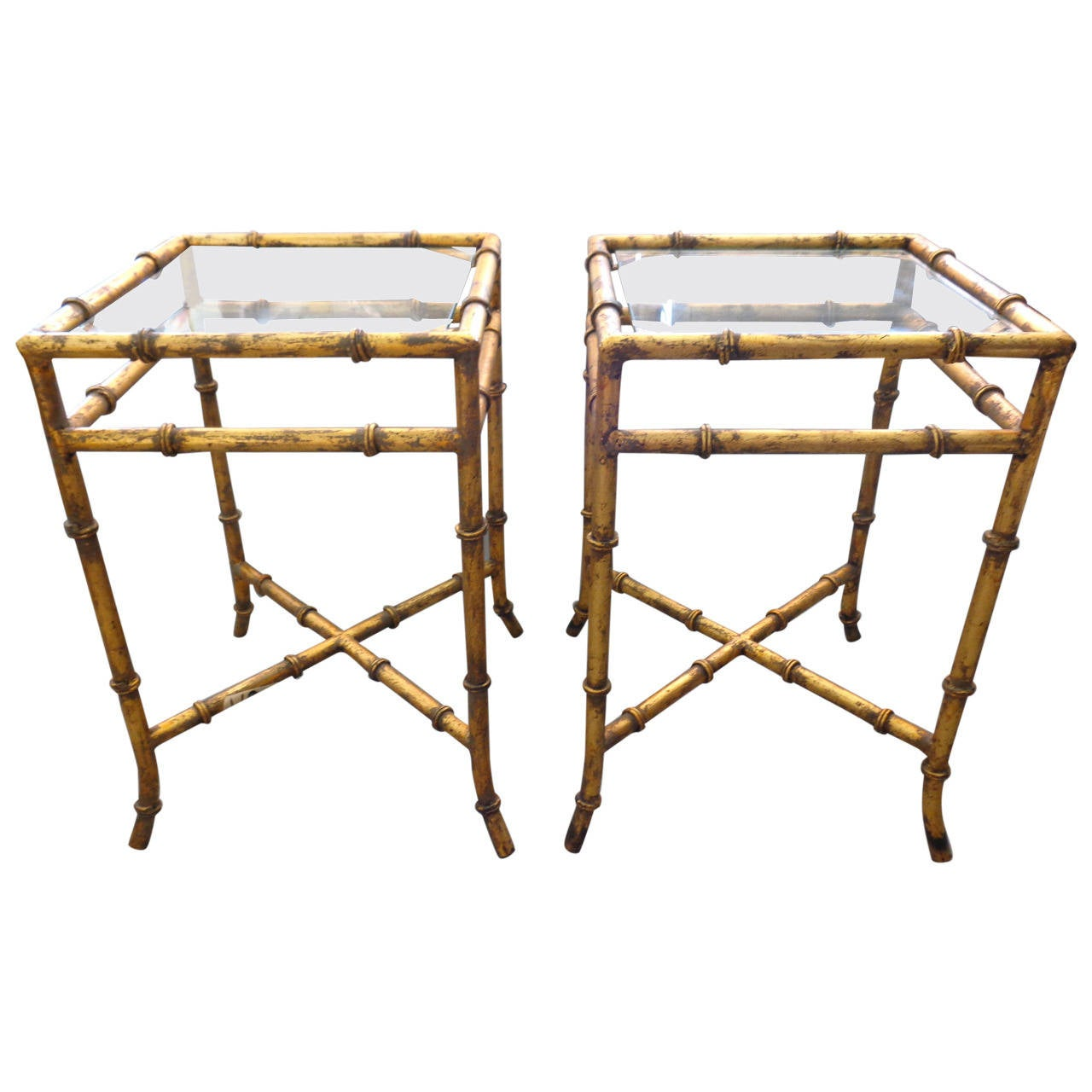 Bamboo Gold Table: Pair Of Faux Bamboo Gold Gilt Tables At 1stdibs