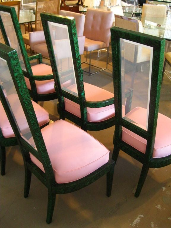Set Of 6 Faux Malachite And Lucite Dining Chairs At 1stdibs