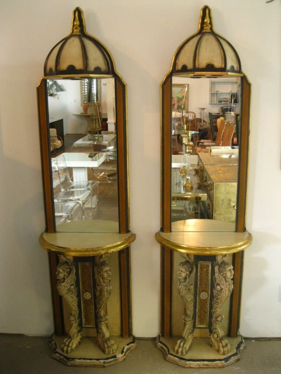 Pair of Phyllis Morris Consoles w/mirrors and canopy lights with signature.<br /> <br /> keywords:  Hollywood Regency