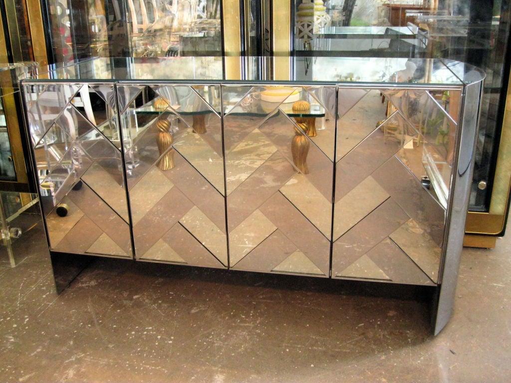 Mirrored Chevron Credenza with 4 doors.<br /> <br /> keywords:  Evans, Ello, Directional, cabinet