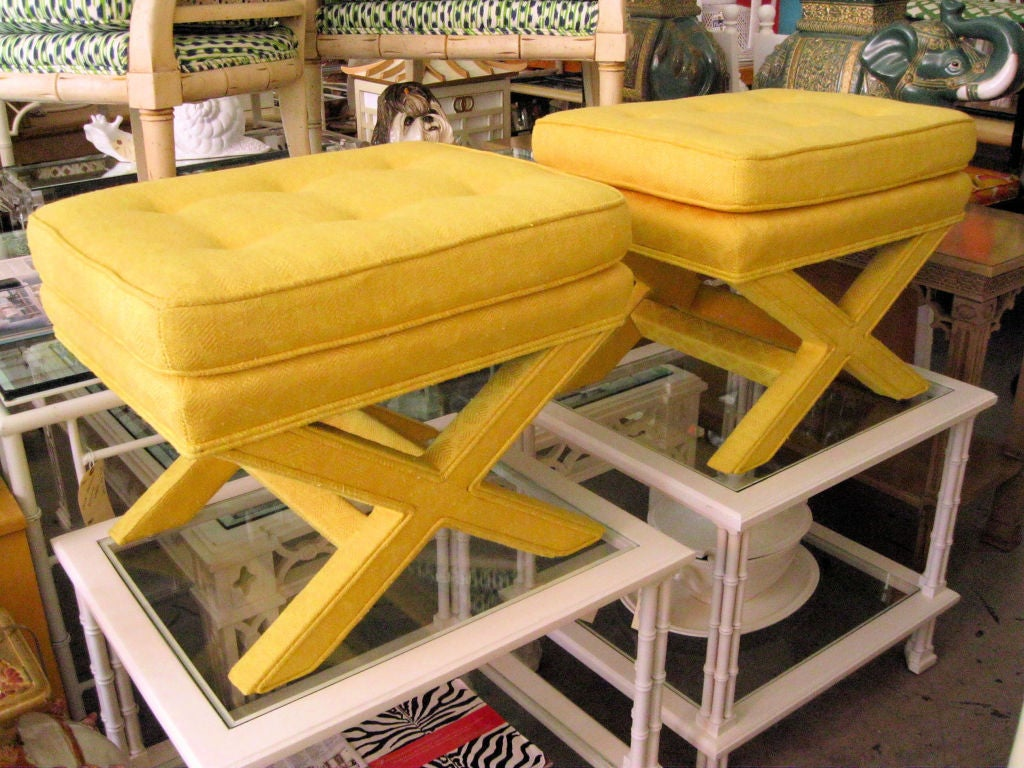 Pair of Upholstered X Benches image 2