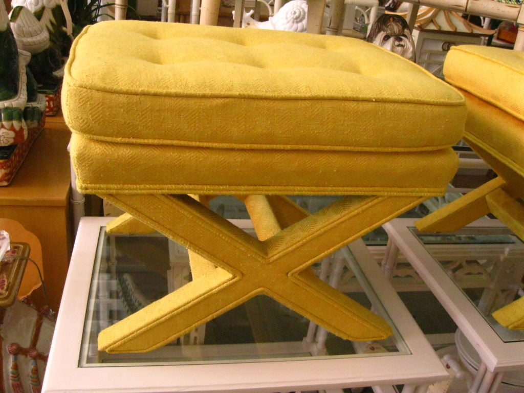 Pair of Upholstered X Benches image 5