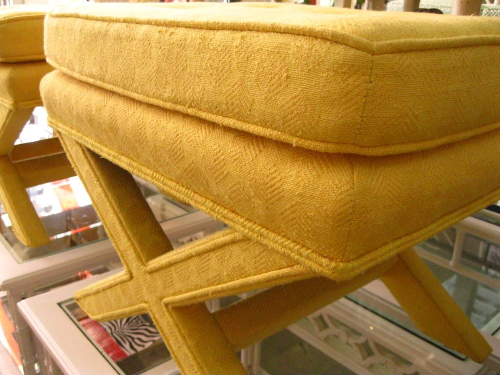 Pair of Upholstered X Benches image 7