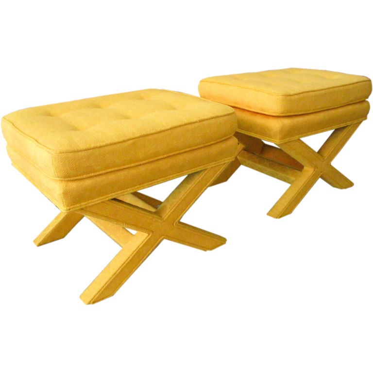 Pair Of Upholstered X Benches At 1stdibs