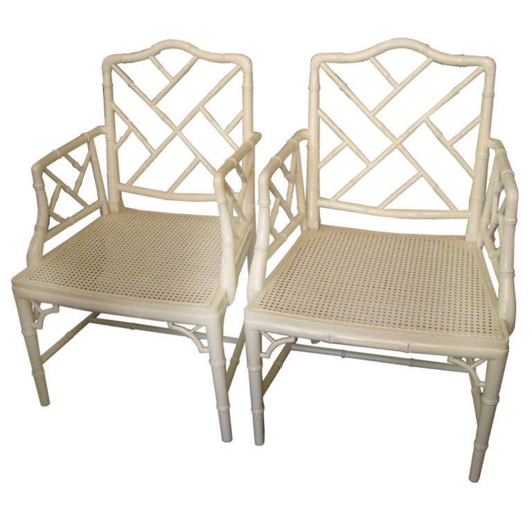 Pair Of Faux Bamboo Chippendale Arm Chairs At 1stdibs