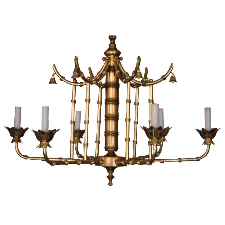 Faux Bamboo Pagoda Chandelier At 1stdibs