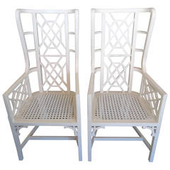 Pair of Hollywood Regency Style Fretwork Wing Chairs
