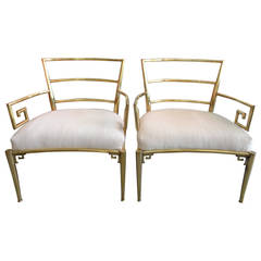 Brass Greek Key Chairs