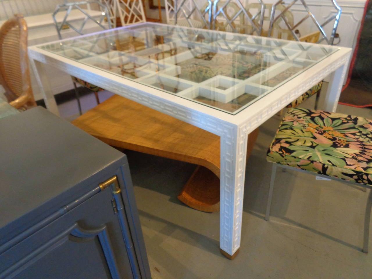 hollywood regency style fretwork dining table at 1stdibs. Black Bedroom Furniture Sets. Home Design Ideas