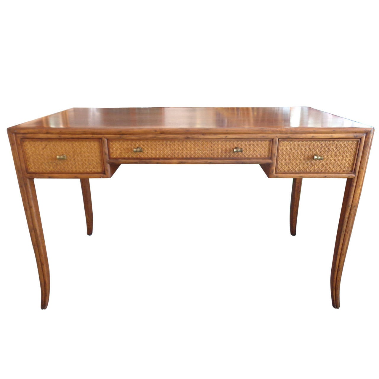 wicker writing desk A wicker writing desk and chair the desk has a woven top and sides solid wood frames the writing surface and continues to solid wood straight tapered legs one.