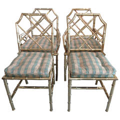 4 Italian Faux Bamboo BRASS Chairs