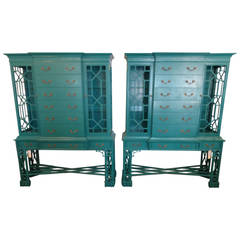 Maitland Smith CHIPPENDALE Style Cabinets