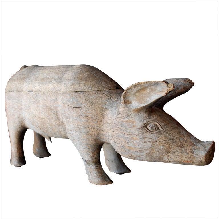 S american folk art wood pig at stdibs