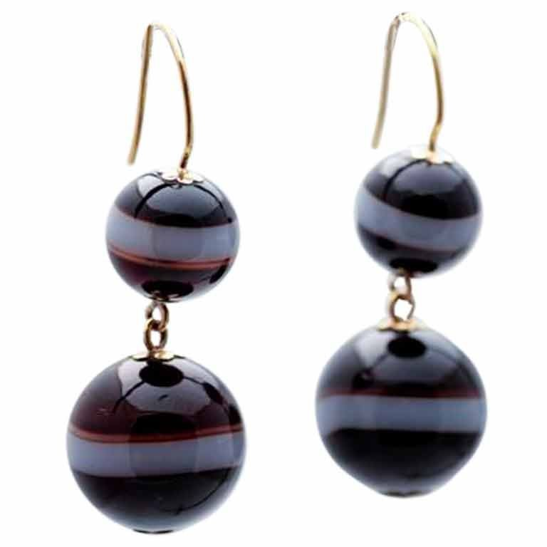 Banded Agate Double Ball Earings At 1stdibs