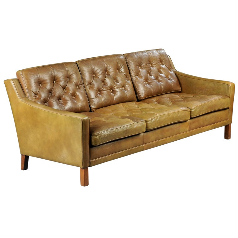 Leather Sofa Tufted Vintage