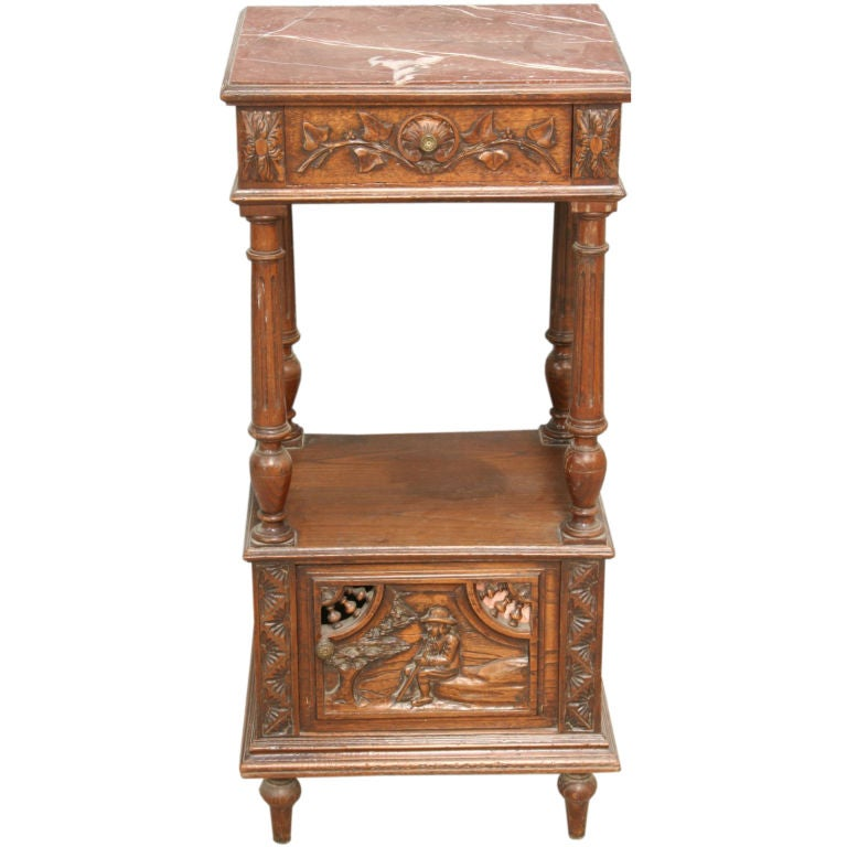 Antique French Carved Brittany Nightstand Bedside Table At