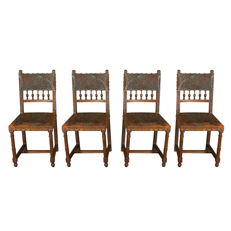 Set 4 Antique French Art Nouveau Chairs Leather Irises At