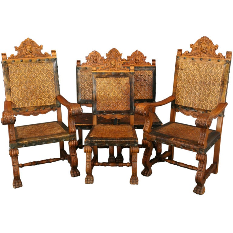 Vintage Set 6 Spanish Renaissance Chairs Claw Feet At 1stdibs
