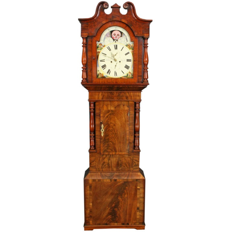 Antique English Moonroller Tall Case Grandfather Clock At