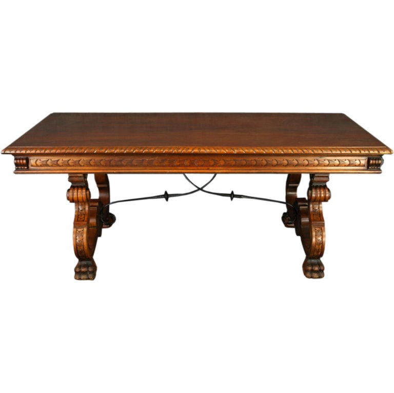 Large Vintage Spanish Renaissance Claw Foot Table At 1stdibs