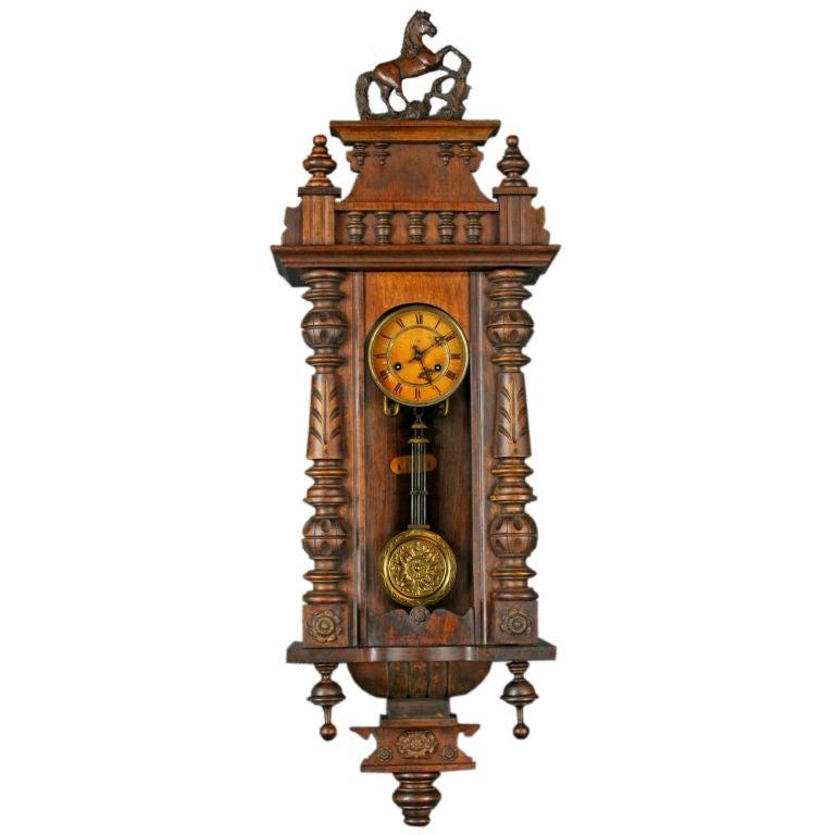 Antique German Regulator Wall Clock Junghans Horse At 1stdibs