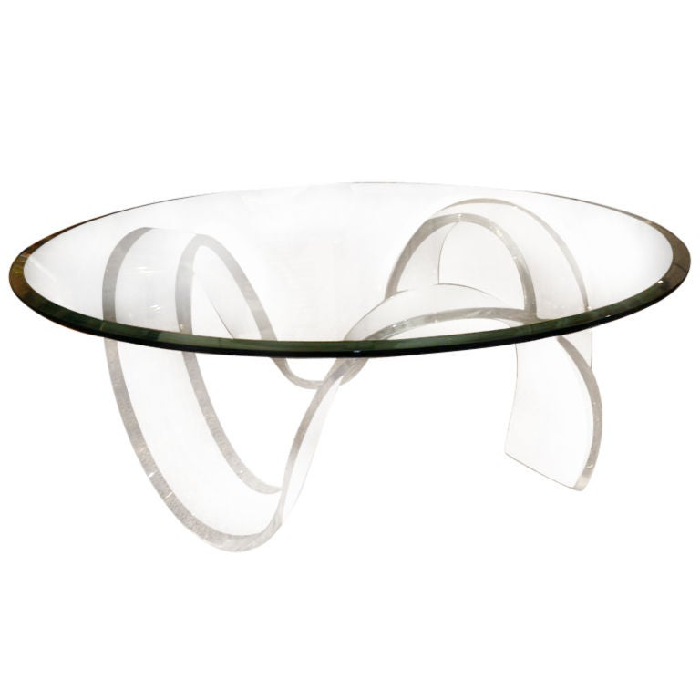 lucite round ribbon coffee table