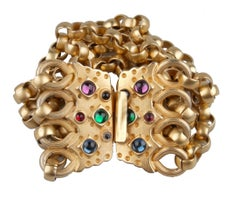 Gold-Tone Bracelet with Multicolored Stones