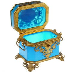 French Sevres Toilette Box in Blue Opaline