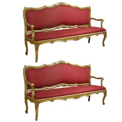 Extraordinary Pair of Louis XV Giltwood Settee, Italy