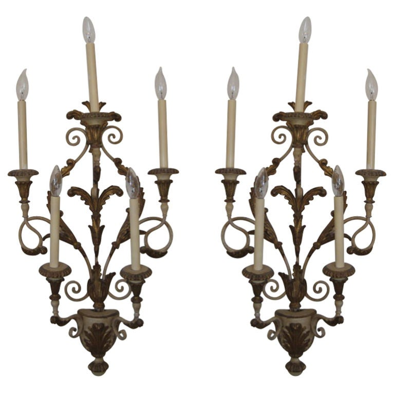 Pair of Florentine Italian Sconces Carved Giltwood