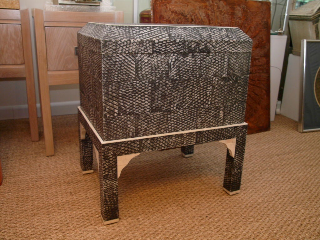 Elevated Maitland Smith Chest In Snake Skin W Tessellate Marble At 1stdibs