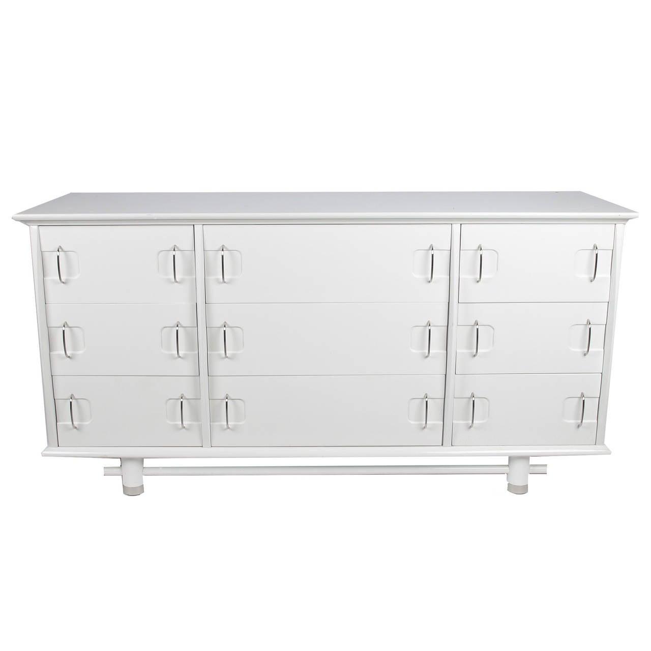 Mid-Century Modern White Kent Coffey Nine-Drawer Dresser