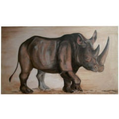 Exquisite Rhinoceros Painting in the Style of Johan