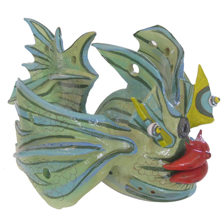 Large ceramic fish sculpture by paolo anselmo at 1stdibs for Ceramic fish sculpture