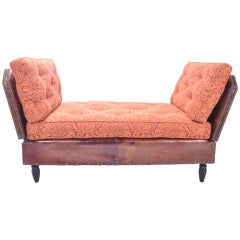 Leather Settee with Adjustable Arms