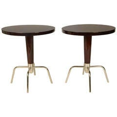 Pair of Round Side Table with Chrome Legs