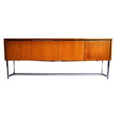Vintage Console with Metal Base in the Style of Joseph André Motte
