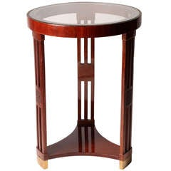 Hungarian Round Table with Three Decorative Legs and Glass Top