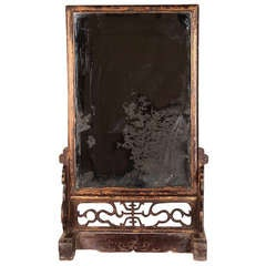 19th Century Chinese Mirror with Stand