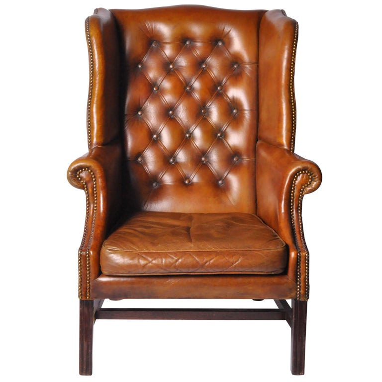 a wingback leather arm chair at 1stdibs