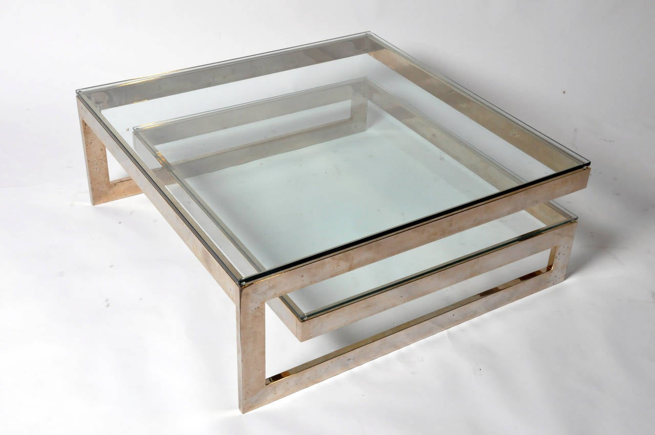 Vintage Brass And Glass Coffee Table At 1stdibs