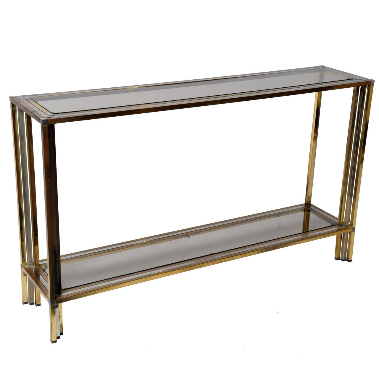 1stdibs Brass Smoked Glass French Console Table: Vintage Brass And Chrome French Console Table At 1stdibs