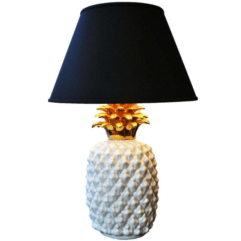 A Ceramic Table Lamp In Shape Of Pineapple