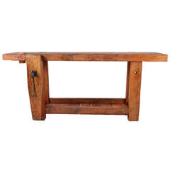 19th Century Work Bench with Bottom Shelf from France