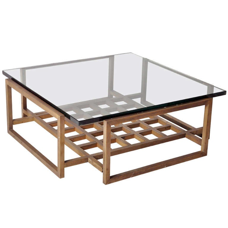 Bronze Coffee Table With Glass Top At 1stdibs